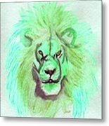 Lion Blue By Jrr Metal Print