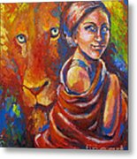 Lion Covering Metal Print