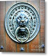 Lion Door Knocker In Norway Metal Print