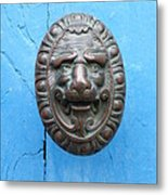 Lion Face Door Knob Metal Print by Lainie Wrightson