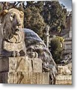 Lion Fountain In Rome Italy Metal Print