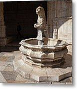 Lion Fountain Jeronimos Monastery In Lisbon Metal Print