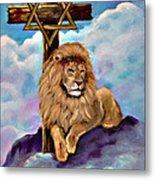 Lion Of Judah At The Cross Metal Print