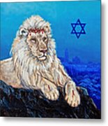 Lion Of Judah Before Jeruselum Metal Print