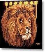 Lion Of Judah - Menorah Metal Print