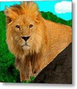 Lion Prowling Metal Print