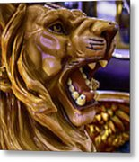 Lion Roaring Carrousel Ride Metal Print