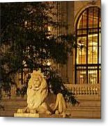 Lion Statue In New York City Metal Print