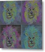 Lion X 4 Color  By Jrr Metal Print