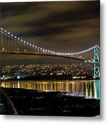 Lions Gate Bridge At Night Metal Print