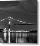 Lions Gate Bridge Black And White Metal Print