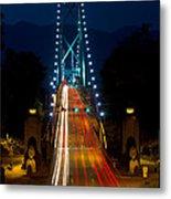 Lions Gate Bridge Traffic Metal Print by Michael Russell