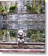 Lions In The Renaissance Court Fountain 2 Metal Print