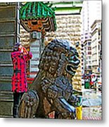 Lions Roar At Entry Gate To  Chinatown In San Francisco-california  Metal Print