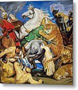 Lions Tigers And Leopard Hunt Homage To Rubens Metal Print