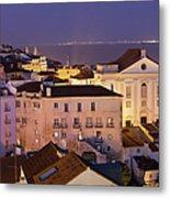 Lisbon At Night In Portugal Metal Print