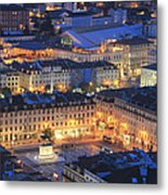 Lisbon At Night Portugal Metal Print