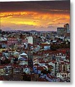 Lisbon At Sunset Metal Print by Carlos Caetano