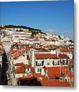 Lisbon Cityscape With Sao Jorge Castle And Cathedral Metal Print
