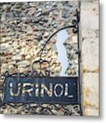 Lisbon, Portugal. Sign For Urinal Metal Print