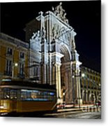 Lisbon - Portugal - Street Cars At Praca Do Comercio Or Terreiro Metal Print