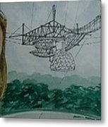 Amber Listening For Aliens At Arecibo Metal Print