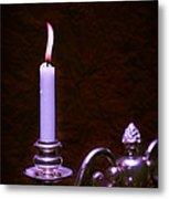 Lit Candle Metal Print