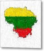 Lithuania Painted Flag Map Metal Print