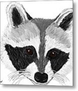 Little Bandit - Raccoon Metal Print by Elizabeth S Zulauf