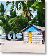 Little Beach Shack Under The Palms Metal Print