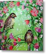 Little Birdies In Green Metal Print