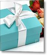 Little Blue Gift Box And Flowers Metal Print