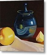 Little Blue Pot And Lemons Still Life Metal Print