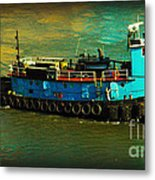 Little Blue Tug - New York City Metal Print