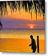 Little Boy Fishing Caye Caulker Belize Metal Print