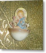 Newborn Boy In The Baptismal Font Sculpture Metal Print