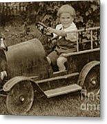 Little Boy In Toy Fire Engine Circa 1920 Metal Print