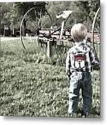 Little Boy On Farm Metal Print