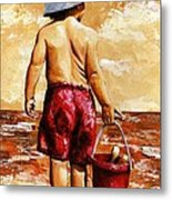 Little Boy On The Beach II Metal Print