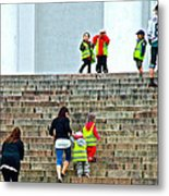 Little Children Climbing Steps Of Lutheran Cathedral Of Helsinki-finland Metal Print