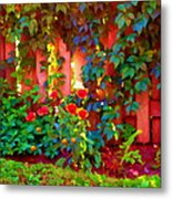 Little Country Scene Pink Flowers Climbing Leaves On Wood Fence Colors Of Quebec Art Carole Spandau Metal Print