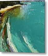 Little Cove Noosa Heads Abstract Palette Knife Seascape Painting Metal Print