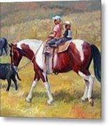 Little Cowboys Of Ruby Valley Western Art Cowboy Painting Metal Print