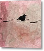 Little Crow In The Pink Metal Print