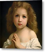 Little Girl And Her Prayer Metal Print