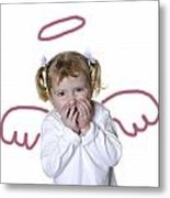 Little Girl Angel Metal Print