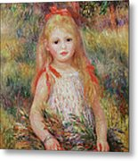 Little Girl Carrying Flowers Metal Print by Pierre Auguste Renoir