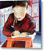 Little Girl From Mongolia Doing Her Homework Metal Print