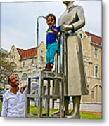 Little Girl Gets Close To Woman Sculpture In Donkin Reserve In Port Elizabeth-south Africa Metal Print