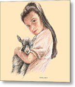 Little Girl Holding A Baby Goat Metal Print